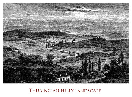 Engraving depicting an idyllic Thuringian landscape - Germany Stock Photo