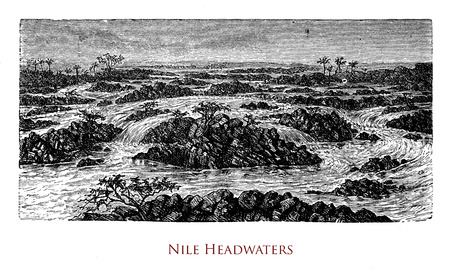 Vintage engraving of the  headwaters of Nile river, the longest river in the world, located just south of the equator in east-central Africa, Stock Photo