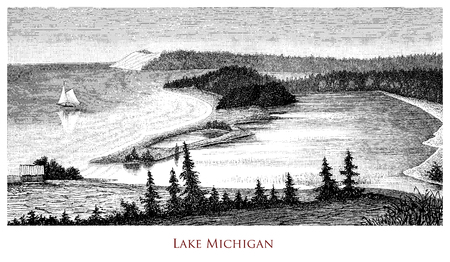 Engraving depicting a yacht sailing on Lake Michigan - North America
