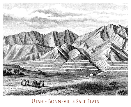 Vintage engraving of Utahs  Bonneville Salt Flats, mountains and hills break up the flat landscape covered by a thick crust of salty soil white like snow Stock Photo
