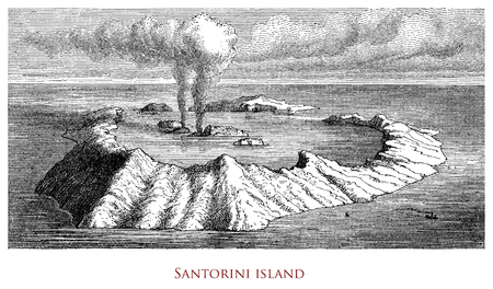 Engraving depicting the Santorini Islands volcanic caldera - Greece