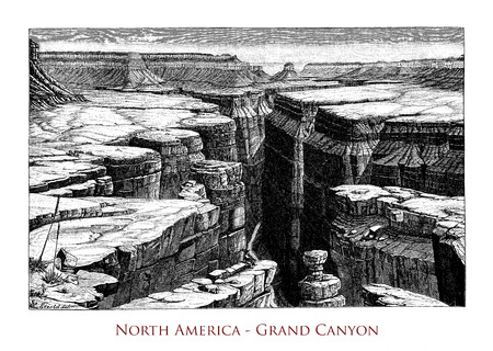 Vintage engraving of  North America Grand Canyon, spectacular river valley carved by Colorado river Stock Photo
