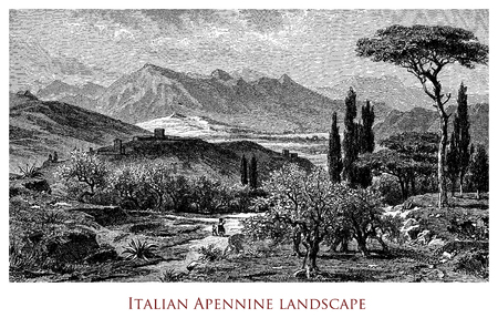 Engraving depicting a scenic landscape of Italian Apennines Stock Photo