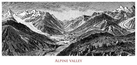 Engraving depicting a typical Alpine valley - (Austria?)