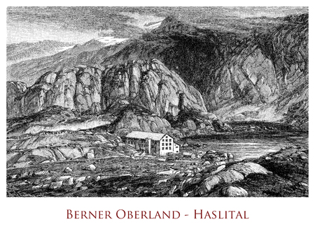 Engraving depicting the Bernese Highlands - Switzerland