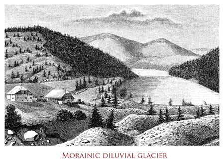 Vintage engraving of morainic diluvial glacier, where  material is transported and deposited on the valley floor with the recession and the advancement of the glacier