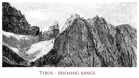 Engraving depicting the Mieming mountain range in Tyrol - Austria
