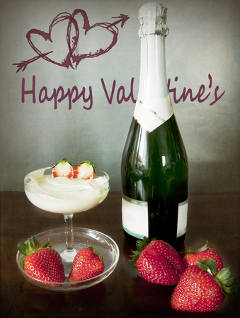 Valentine's dating, champagne, strawberries and fresh cream to exalt the sparkling wine taste and celebrate an anniversary, two hearts with an arrow on the wall