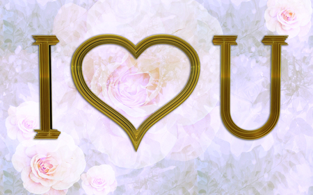 Romantic Valentine's day, floral purple and pink vintage background and I love you with shiny golden characters