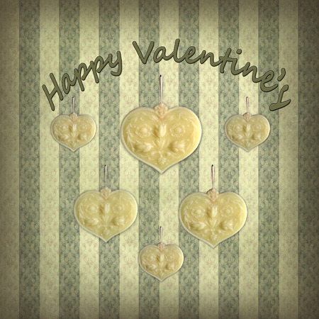 happy Valentines day, cute wax hearts hang on a faded and romantic Victorian wallpaper