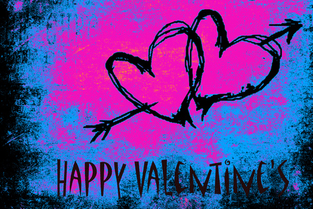 Two red hearts and an arrow painted on a grunge psychedelic blue and purple wall, happy Valentines day