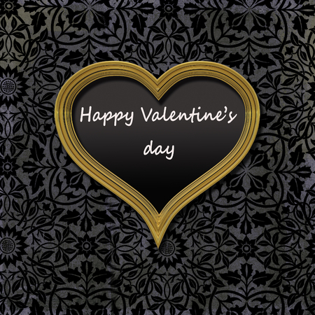 Golden vintage frame heart shaped filled with black velvet and a message; Happy Valentines day