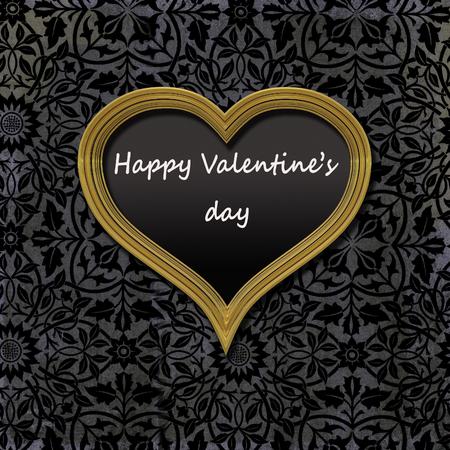 Golden vintage frame heart shaped filled with black velvet and a message; Happy Valentine's day