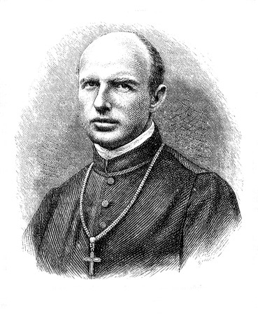 Engraving portrait of  Karl Motschi, abbot from 1873 to 1900 of Mariastein, benedictine monastery in Solothurn canton in Switzerland Stock Photo