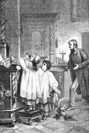 Old humor vignette, altar server boy drinks mass wine  in the sacristy