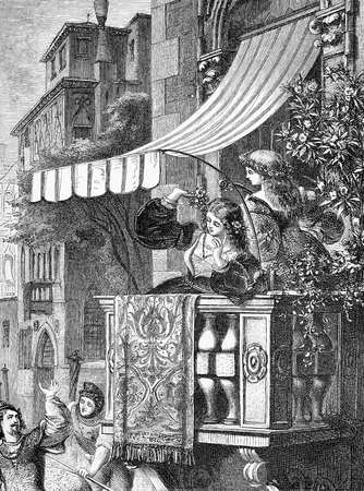 Courtship, wooing from the gondola, Venetian vintage illustration