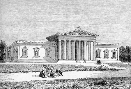Antique engraving of the Munich Glyptothek, museum commissioned in neoclassical style by the Bavarian King Ludwig I to house his collection of Greek and Roman sculptures, built from 1816 to 1830