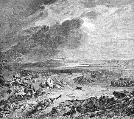 Greece, the plain of Marathon, site of historical battle where the outnumbered Athenian defeated the Persian army, old print
