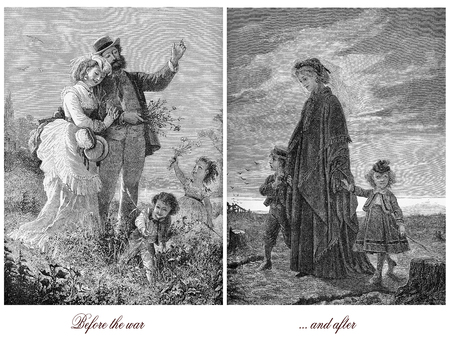 Sad pair of images comparing the family life before and after war, where the husband and father was killed, happiness destroyed with one life Stock Photo