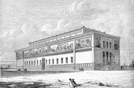 Vintage engraving of the Neue Pinakothek of Munich (now Alte Pinakothek), the largest museum in the world established in 1836 in neo-Renaissance castle-like style to host a great collection of old master paintings. Stock Photo