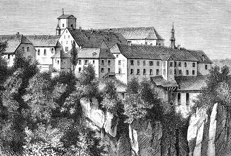 Vintage engraving of Mariastein abbey, Benedictine monastery  in the Canton of Solothurn on the Jura hills, important place of pilgrimage in Switzerland