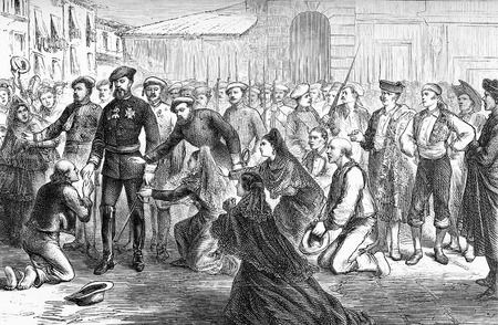 Civil war in spain - Don Carlos, Duke of Madrid ( Carlist claimant to the throne of Spain with the name of Carlos VII) returning from mass in a square at  Estella, residence of Navarra kings, year 1874, old print