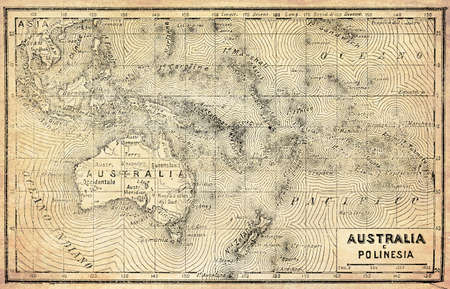 Ancient map of Australia, Polynesia and New Zealand with Italian names and descriptions