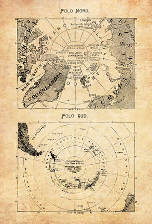 Ancient maps of the North Pole in the middle of the Arctic Ocean and the South Pole with the continent of Antarctica with geographical Italian names and descriptions