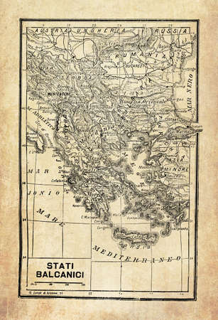 Ancient map of Balkan Peninsula in Southeast Europe and the seas and islands surrounding it with geographical Italian names and descriptions Banco de Imagens