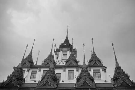 Black and white Thailand temple Stock Photo