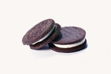 Chocolate sandwich cookie on white background Stock Photo