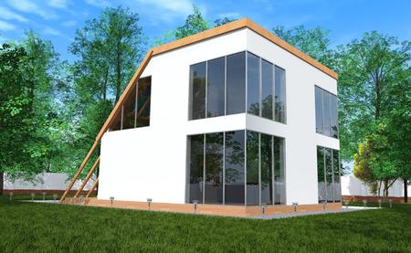 Modern house a simple form with large stained-glass windows set in its own garden, surrounded by green lawns and trees photo