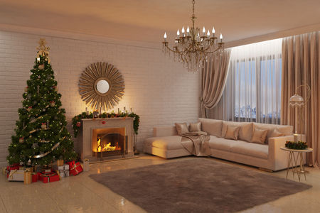 red rug: 3d illustration of Christmas livingroom with fireplace, tree and presents Stock Photo