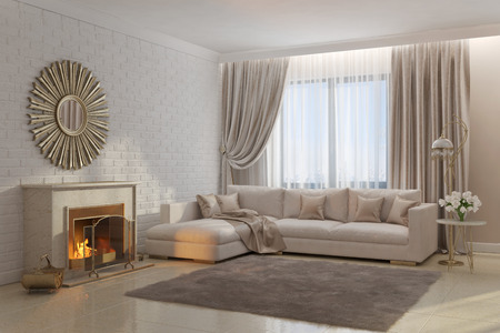 3d illustration of bright and cozy living room with fireplace and mirror