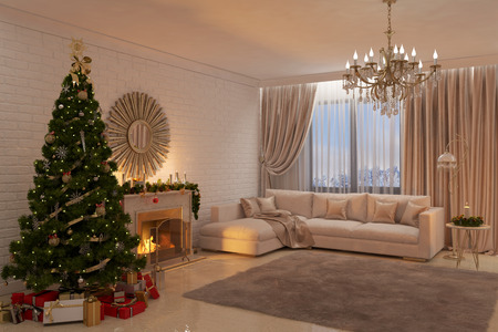 3d illustration of Christmas livingroom with fireplace, tree and presents Stockfoto