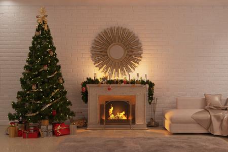 벽난로, 나무와 선물 크리스마스 거실의 3d 그림 스톡 콘텐츠 - 69507040