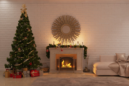 3d illustration of Christmas livingroom with fireplace, tree and presents Banque d'images
