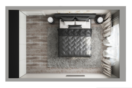 3d illustration of a top view of the bedroom Stockfoto