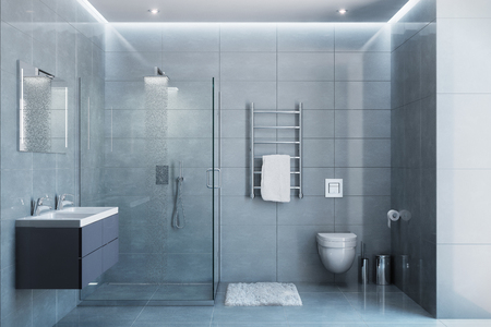 3d illustration of gray modern shower room with equipment and accessories in the daylight Stockfoto