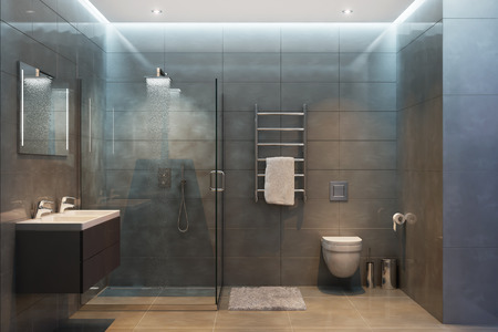 3d illustration of gray modern shower room with equipment and accessories in the evening Фото со стока