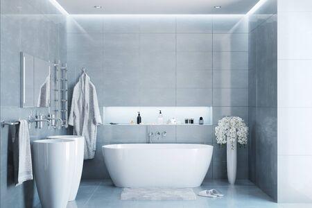 Gray modern bathroom in the day Stockfoto