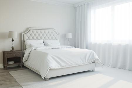 white sheet: d rendered interior of bedroom