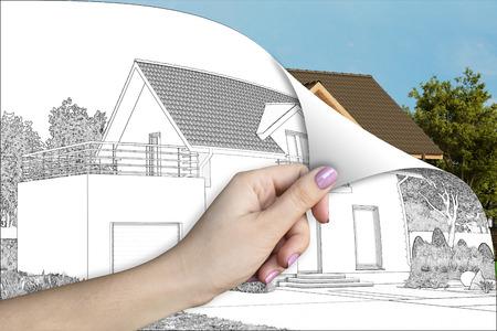 3d illustration. A cottage renovation concept Stock Photo