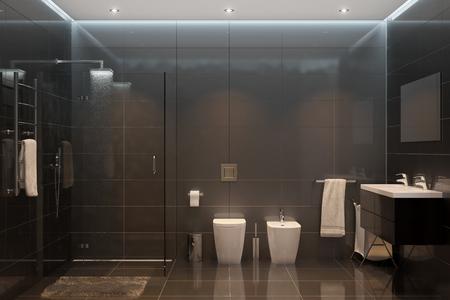 3d illustration. Black modern shower room