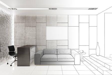 3d illustration. Sketch of a reception in a modern office 免版税图像