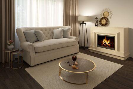 3d illustration of a cozy beige livingroom