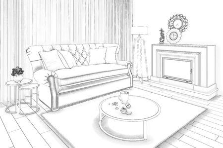 3d illustration. Sketch of a cozy beige livingroom