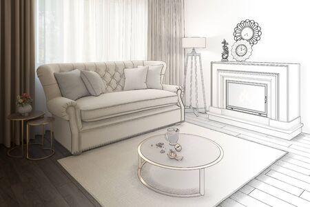 3d illustration. Sketch concept of a cozy beige livingroom 免版税图像