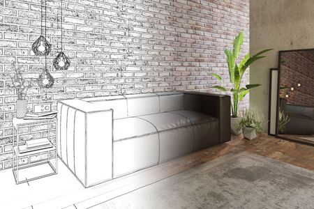 3d illustration. Cozy living room with sofa and brick wall