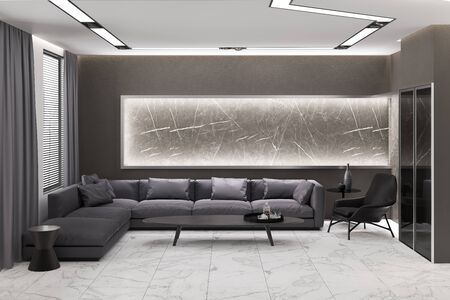 3d illustration of a gray living room